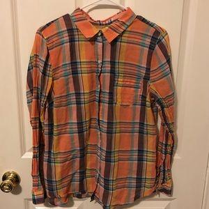 Old Navy orange & blue plaid shirt